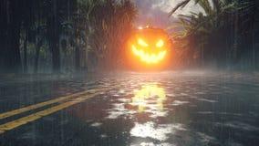Świecąca w ciemnej dyni, ciemnym lesie, święto Halloween Nocny krajobraz z mistyczną mgłą, deszczową drogą, świecącą ilustracji