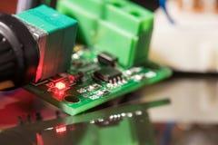 Świecący LEDs i elektroniczni składniki Fotografia Royalty Free