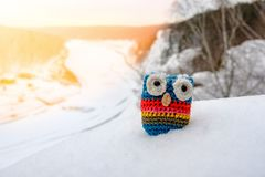 Świecenie słońce i wiążąca sowa nić, zabawka w śniegu na tle zima krajobraz obrazy royalty free