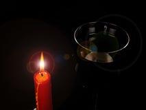 Świeczka i wino Zdjęcia Royalty Free