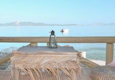 Świeczka na tle morze Fotografia Royalty Free