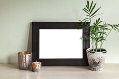 Świeczka właściciele i ramowa mockup scena Obrazy Stock