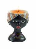 Świeczka właścicieli kobiety afro twarz Obraz Stock