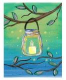 Świeczka w kamieniarza słoju akwareli doodle Fotografia Royalty Free