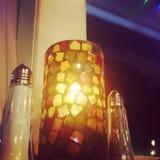 Świeczka zaświecający gość restauracji Fotografia Royalty Free