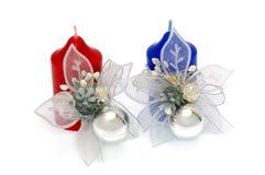 świeczki boże narodzenie odizolowywali biel Zdjęcie Royalty Free