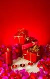 świeczki boże narodzenie prezent Zdjęcie Stock