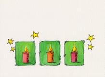 świeczki boże narodzenie target1547_1_ akwarelę Zdjęcie Stock