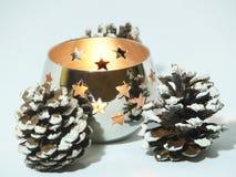świeczki bożych narodzeń rożki sosnowi obrazy stock
