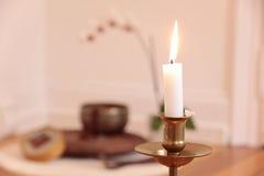 świeczki dekoraci orchidea Obrazy Royalty Free
