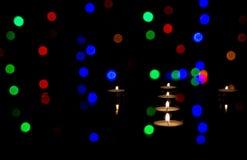 Świeczki i światła fotografia stock