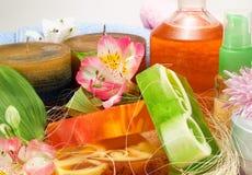 Świeczki i aromatyczni mydła fotografia royalty free