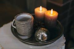 Świeczki i filiżanka herbata Obraz Royalty Free