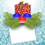 Świeczki i prezenta pudełko. Fotografia Stock