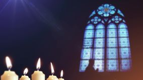 Candles and stained glass Stock Footage