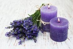 świeczki lawendowe Zdjęcie Royalty Free