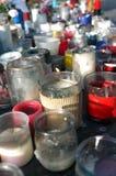Świeczki opuszczali przy statuą miejsce De Los angeles Republique, Paryż Fotografia Stock