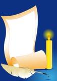 świeczki piórka papieru prześcieradło Obrazy Royalty Free