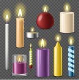 Świeczki realistycznego 3d wosku świeczki ogienia płomienia światła beeswax ustalonego taper na przejrzystym tło wektorze royalty ilustracja