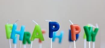 świeczki urodzinowe szczęśliwe Zdjęcie Royalty Free