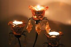 Świeczki w żółtym kandelabrze Fotografia Stock