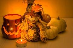 Świeczki Zaświecać Halloweenowe dekoracje Zdjęcie Stock