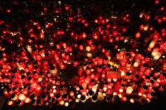 Świeczki zsiadają w memoriam opóźnionym Czeskim prezydencie Vaclav Havel Fotografia Royalty Free