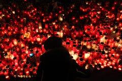 Świeczki zsiadają w memoriam opóźnionym Czeskim prezydencie Vaclav Havel Obrazy Royalty Free