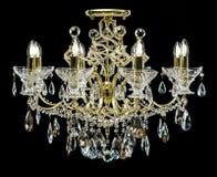 Świecznik dla wnętrza żywy pokój świecznik dekorował z kryształami odizolowywającymi na czarnym tle obrazy royalty free