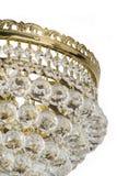 Świecznika światło w wnętrzu, Chrystal świecznika zakończenie krystaliczna część od świecznika, świecznik, oświetlenie, wyposażen Obraz Royalty Free