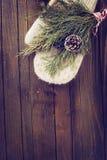 Świerczyna na drewnianym tle Zdjęcia Royalty Free