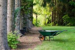 Świerkowa aleja i wheelbarrow Zdjęcie Stock