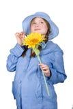 świetnego mienia ciężarna słonecznikowa kobieta Obrazy Royalty Free