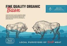 Świetnej ilości Organicznie żubr Abstrakcjonistyczny Wektorowy Mięsny Pakuje projekt lub etykietka Nowożytna typografia i ręka Ry ilustracja wektor