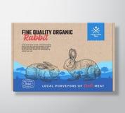 Świetnej ilości Organicznie królik Wektorowy mięso Pakuje etykietka projekt na rzemiosło kartonu zbiorniku Nowożytna typografia ilustracji