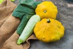 Świezi żółci patissons na starym ośniedziałym tle Zdjęcie Royalty Free