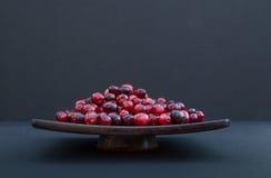 Świezi Cranberries na półmisku przeciw Czarnemu tłu Fotografia Royalty Free