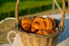 Świezi croissants w koszu zdjęcia royalty free