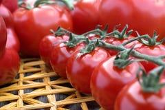 Świezi czereśniowi pomidory na słomy macie Obraz Royalty Free