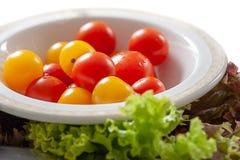 Świezi czerwieni i koloru żółtego dziecka pomidory Zdjęcie Stock