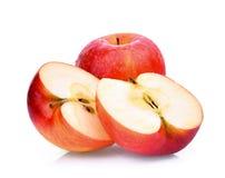 Świezi czerwoni galowi jabłka z wodnymi kroplami odizolowywać na bielu Fotografia Royalty Free