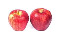 Świezi czerwoni jabłka z wody kroplą odizolowywającą na białym tle Zdjęcia Royalty Free