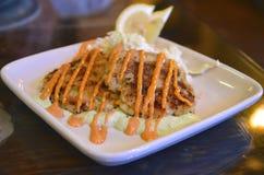 Świezi gomółka kraba torty w Oregon Obraz Stock