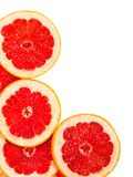 Świezi grapefruitowi plasterki odizolowywający na bielu Fotografia Stock
