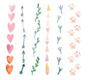 Świezi i jaskrawi akwarela projekta elementy: serca, strzała, ślada Set ręka rysujący abstrakcjonistyczni kolorowi przedmioty Zdjęcia Stock