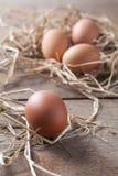 Świezi jajka na ryżowej słomie przy krajem uprawiają ziemię Zdjęcie Stock