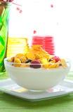 świezi kukurydzani jagoda płatki Zdjęcie Royalty Free