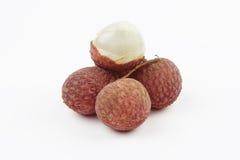 Świezi lychees z liściem Zdjęcie Royalty Free