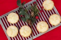 Świezi mince pie na chłodniczym stojaku z bożego narodzenia acorn arrang Fotografia Royalty Free