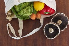 Świezi organicznie warzywa w reusable torbie na zakupy Zero odpadów, klingeryt uwalnia pojęcie obraz royalty free